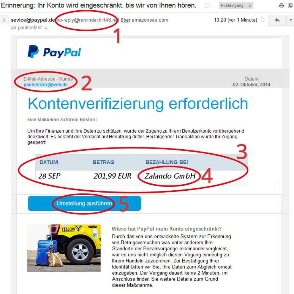 5 Indizien, die auf Phishing Mails hinweisen am Beispiel PayPal