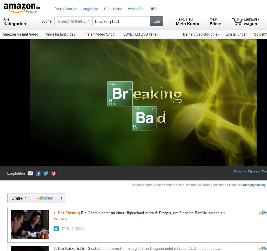 Breaking Bad auf Amazon Prime Instant Video - Alle 6 Staffeln anschauen - Bildquelle: amazon.de