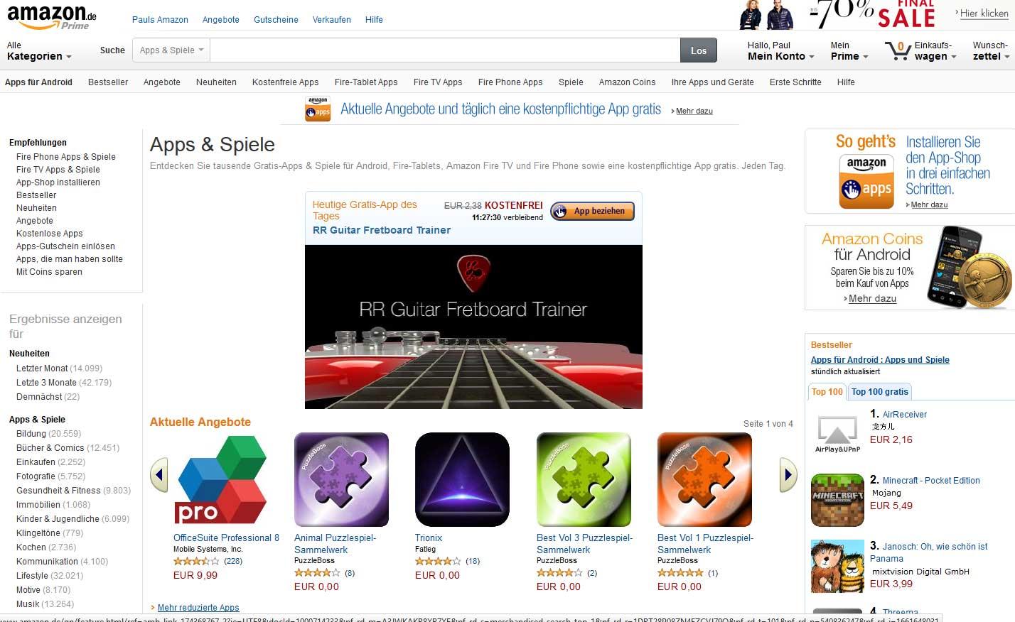 Amazon App Shop Android Apps auch auf dem Blackberry installieren - Bildquelle: amazon.de