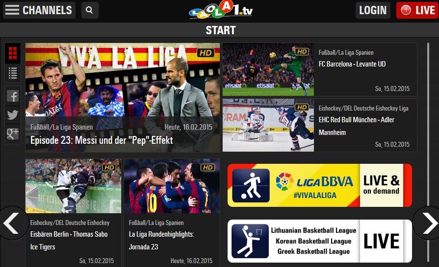 LAOLA1 Übersicht Bildquelle: laola1.tv
