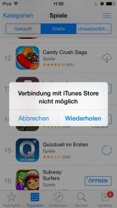 Aktuell kommt es zum Problem Verbindung mit iTunes Store nicht möglich