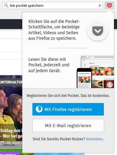 """Im Firefox wird der Button """"Bei Pocket speichern"""" automatisch integriert"""