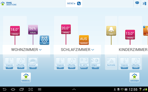 RWE SmartHome App zur Steuerung von Geräten