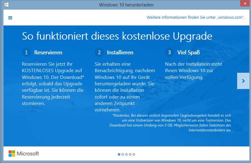 Microsoft informiert Nutzer über das kostenlose Upgrade auf Windows 10 - Bildquelle: Microsoft