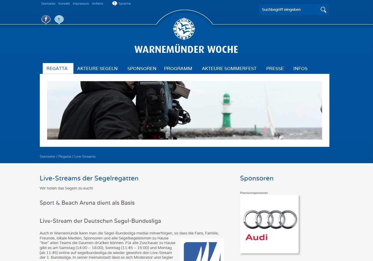 Website der Warnemünder Woche - Bildquelle: www.warnemuender-woche.com
