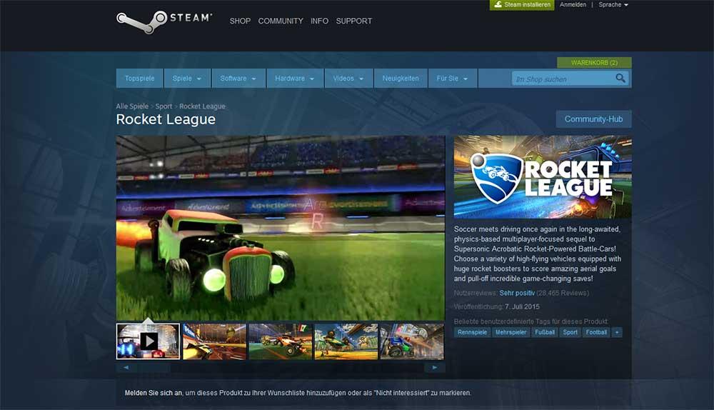 Rocket League gibt es aktuell im Steam Sale 30 Prozent günstiger - Bild: steam.com / eigene Darstellung