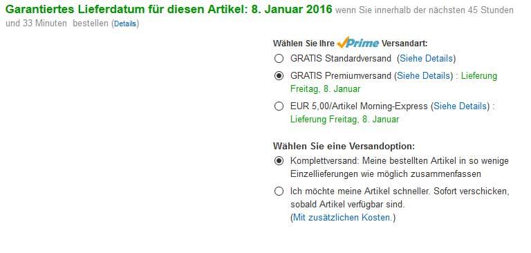Die Lieferzeit bei Amazon ist aktuell deutlich länger als normal - Bildquelle: Eigene Darstellung / amazon.de