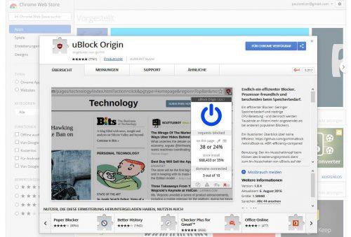 uBlock Origin kann für den Browser Chrome im Web Store als Erweiterung kostenlos heruntergeladen werden