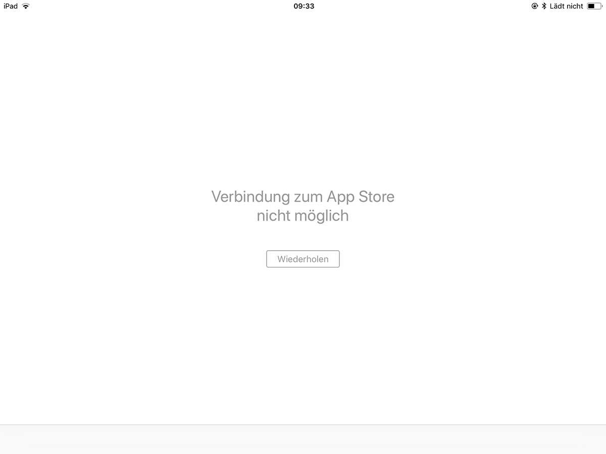 Verbindung zum App Store nicht möglich - Aktuell eine Störung bei Apple